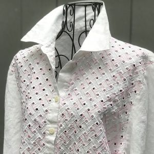 Tops - WHITE AND PINK TOP